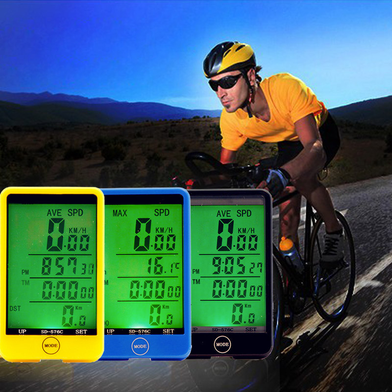 Water-resistant Multifunction Wireless Bike Bicycle Cycling Computer Odometer Speedometer Touch Button LCD Backlight Backlit(China (Mainland))