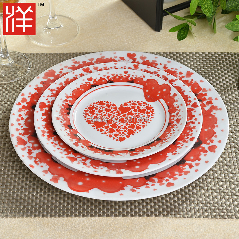 Romantic Heart shaped stamp Bone China Western plate Three-piece Fruit Flat plate Valentine's Day Family Dating Wedding(China (Mainland))