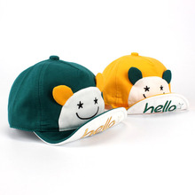 2016 New Cute Baby Boy and Girl Smile Face  Baseball Cap Infant  Hello Print Summer Sun  Hat with ears