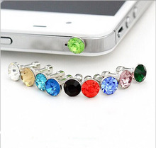3.5mm Diamond Earphone Dustproof Plug Headset Jack Dust Plug For Iphone For Samsung Mobile Phone Without Retail Package