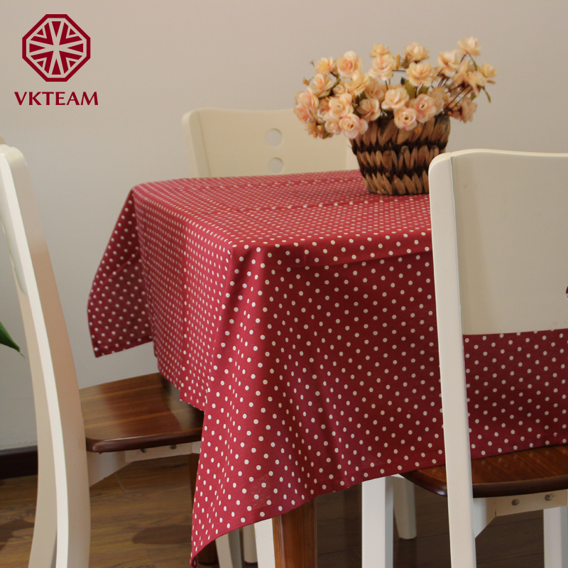 VKTEAM Table Cloths Cotton Tablecloths For Round Table Brown/Red/Green/Blue/Pink Table Cloth Rectangular Polka Dot Tablecloth(China (Mainland))