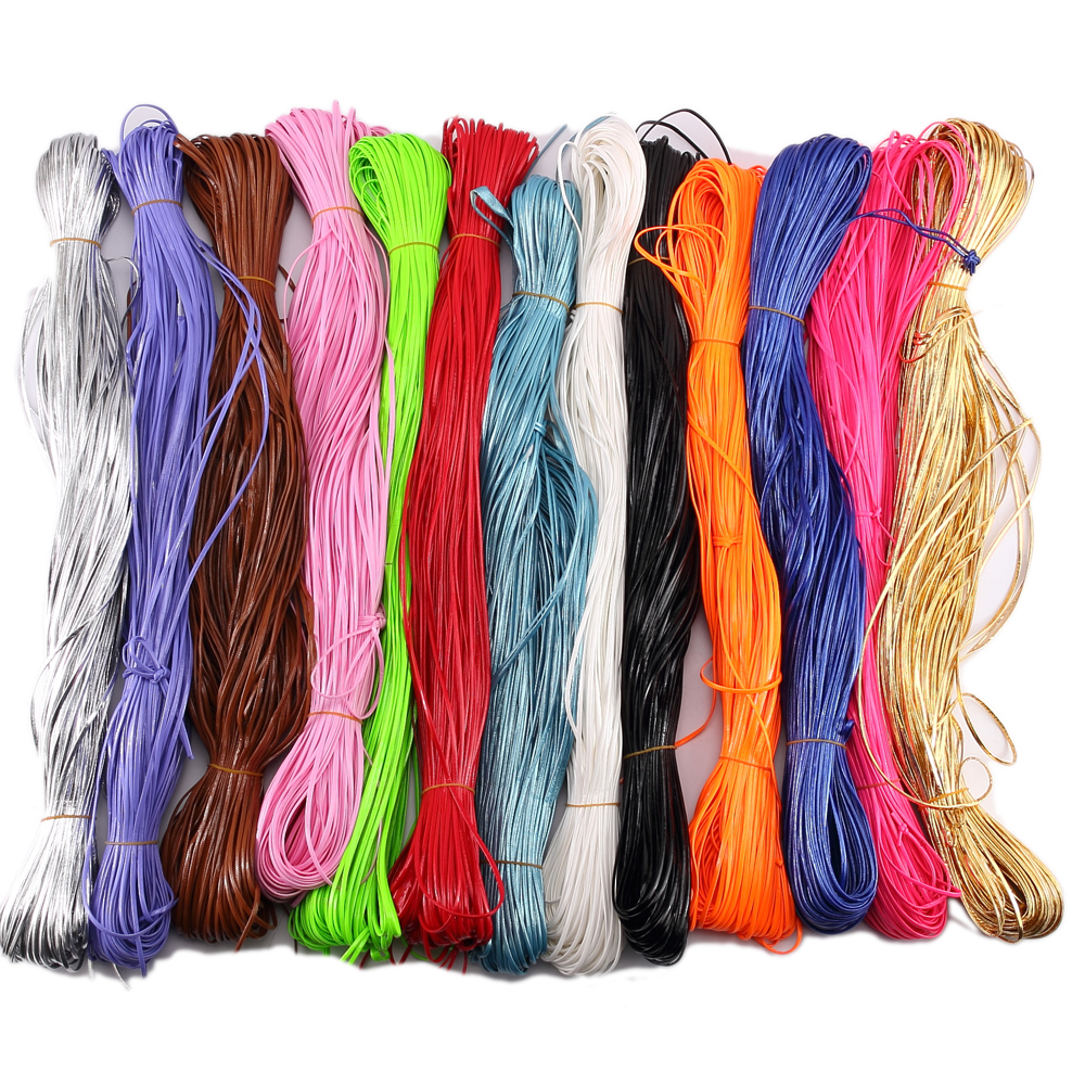 15 Colors 3mm Bright Flat Leather Cord String Strap Necklace Rope Fit DIY Jewelry Making(China (Mainland))