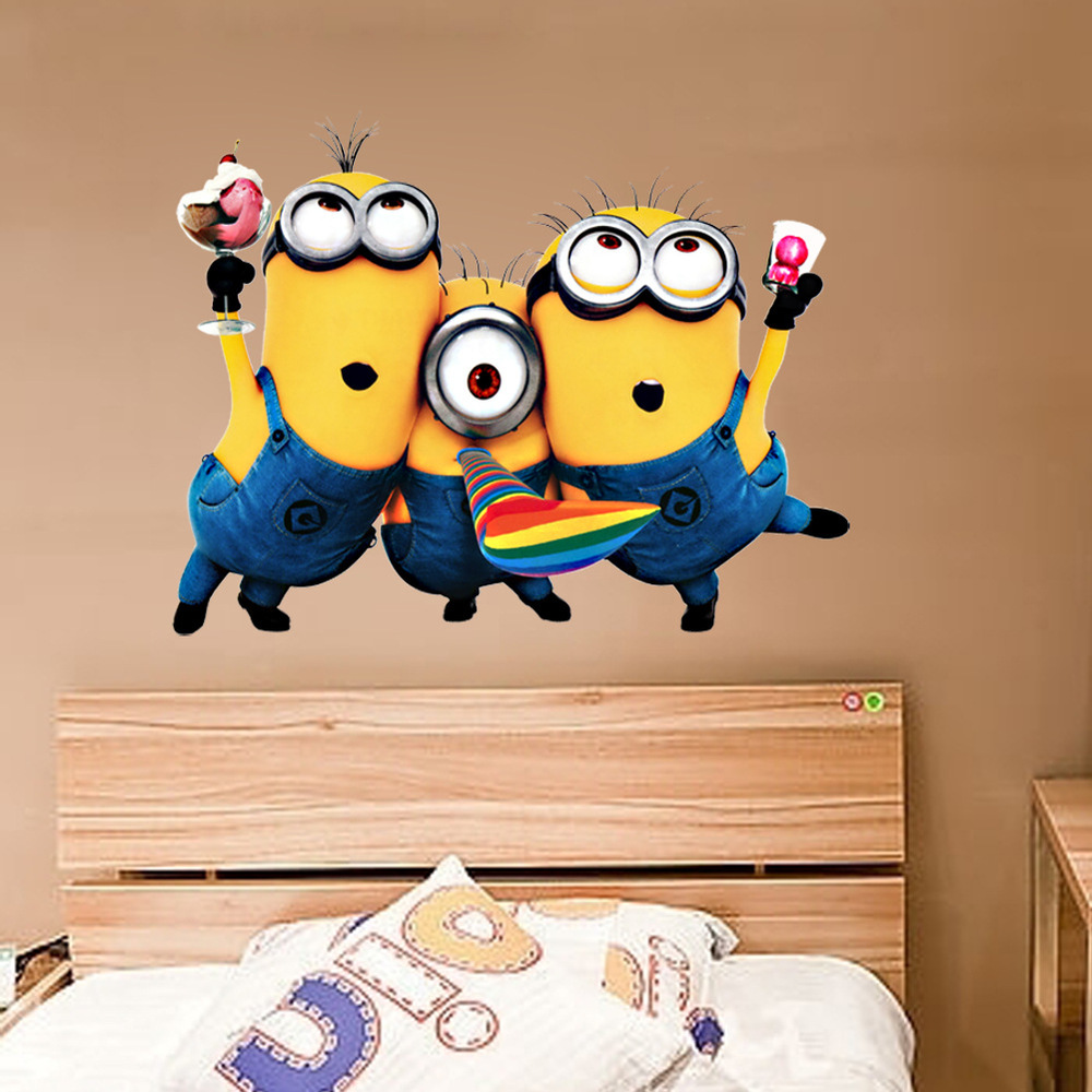 Despicable Me 2 Minion Decal Removable Home Decor Wall Sticker adesivo de parede Kids Nursery Christmas Gift Free Shipping(China (Mainland))
