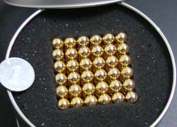 216 pcs NdFeB Magnet Balls 7mm Diameter Gold Color Neodymium Sphere D7 ball Permanent Rare Earth Magnets in Gift Box(China (Mainland))