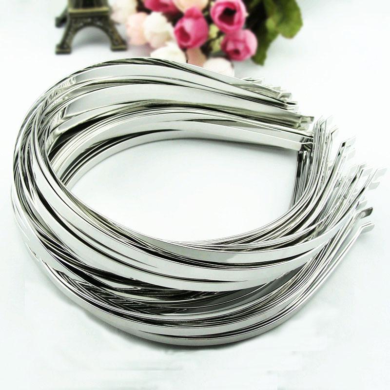 5pcs 5mm Blank Plain Metal Rhodium Women Headbands Hair Band Hairwear For Girls Hair Accessories Jewelry DIY Finding Y1467(China (Mainland))