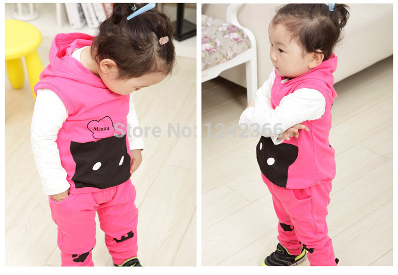 Baby Girl Clothes vest waistcoat+sweaters+Pants sport suit autumn fashion Kids clothing stores cheap Clothes hooded baby stuff(China (Mainland))