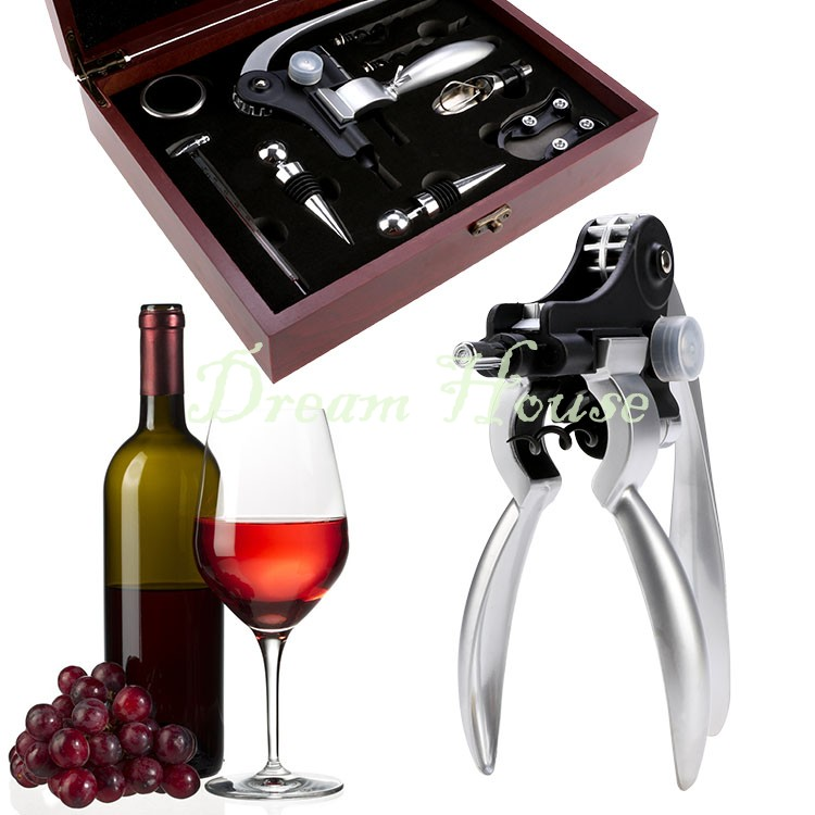 High Quality Rabbit Stainless Steel Red Wine Opener Tool Kit Cork Bottle Tire Corkscrew Collar Pourer Gift Set With Box 22(China (Mainland))