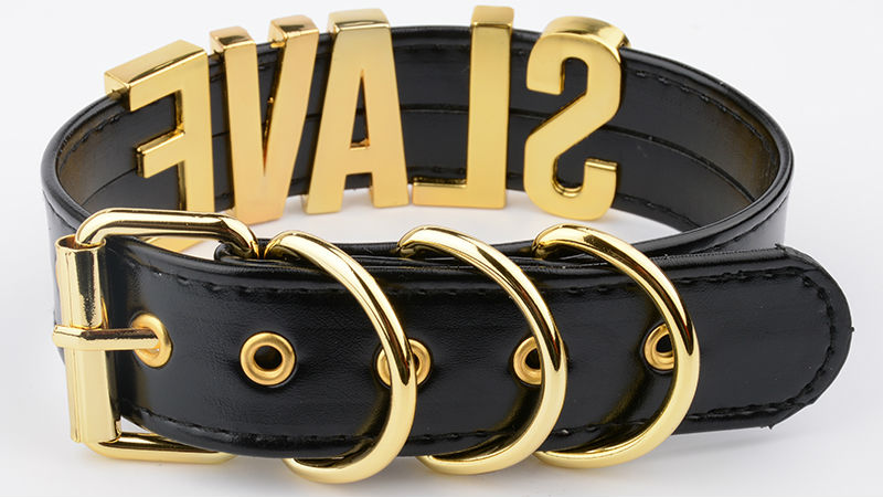 Fashion Gold Men Necklace Women Girl Silver Slave Name Word Customized Collar Buckle Necklace Black PU Leather Kawaii Jewelry 8