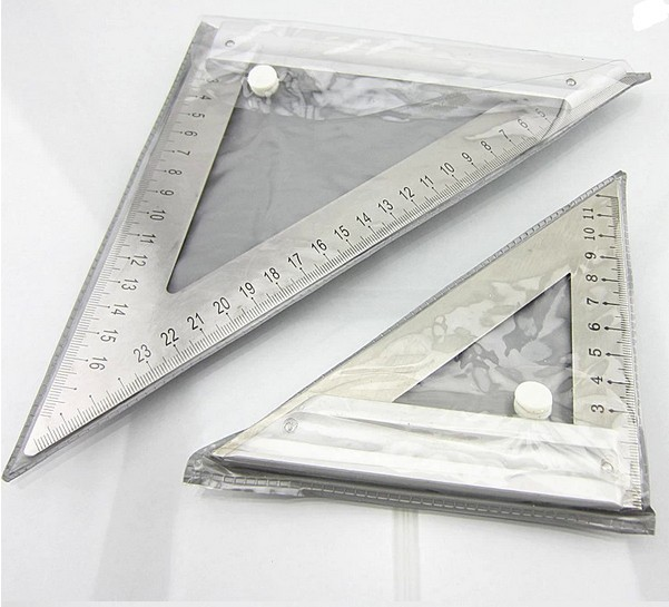 34017  1PC 180mm High quality Double Side Scale Stainless Steel Metric Triangle Ruler Free Shipping