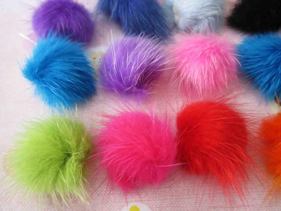 Set of 80pcs Bulk buy, mink hair Fur pom pom ball, craft, sewing, accesories, earplug, iphone, ipod supply(good quality)(China (Mainland))