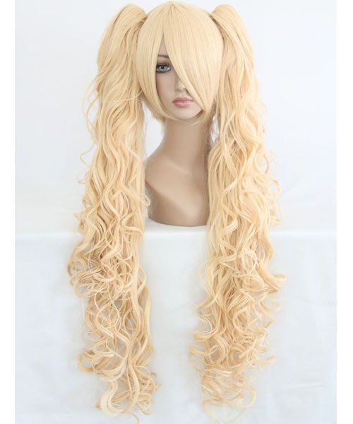 MCOSER Long Wavy Beautiful Lolita Style Women Anime Golden Cosplay Wig + Two Curly Ponytails Free Shipping(China (Mainland))
