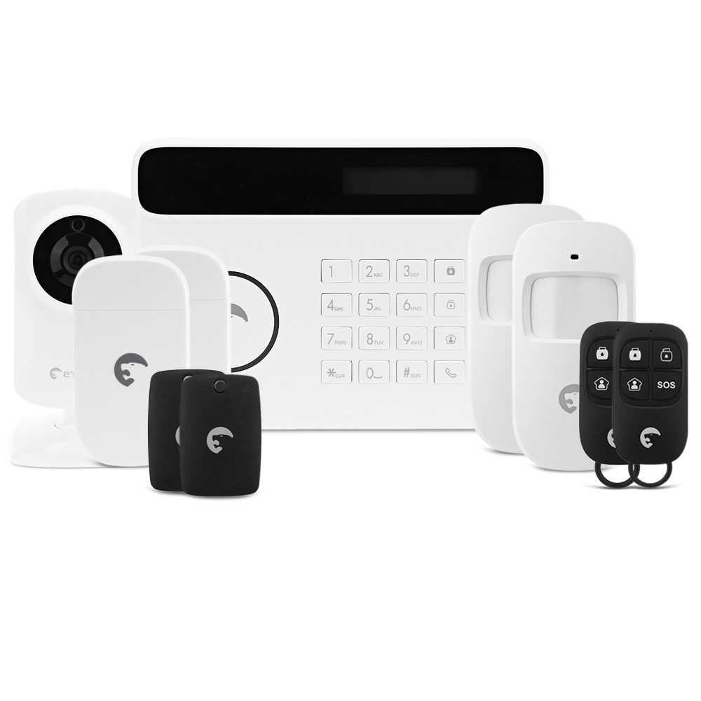 S4 - CV Touch Screen Alarm System GSM Transmitter 433mhz GSM PSTN Office Home Security Alarm System With Built-in mic IP Camera