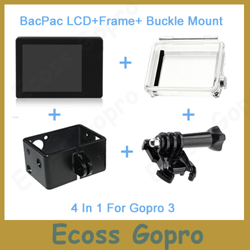 Gopro LCD Gopro hero3/3+/Hero4 LCD screen BacPac display+Back Door Case Cover+Extension Frame+Buckle mount For Gopro Accessories(China (Mainland))