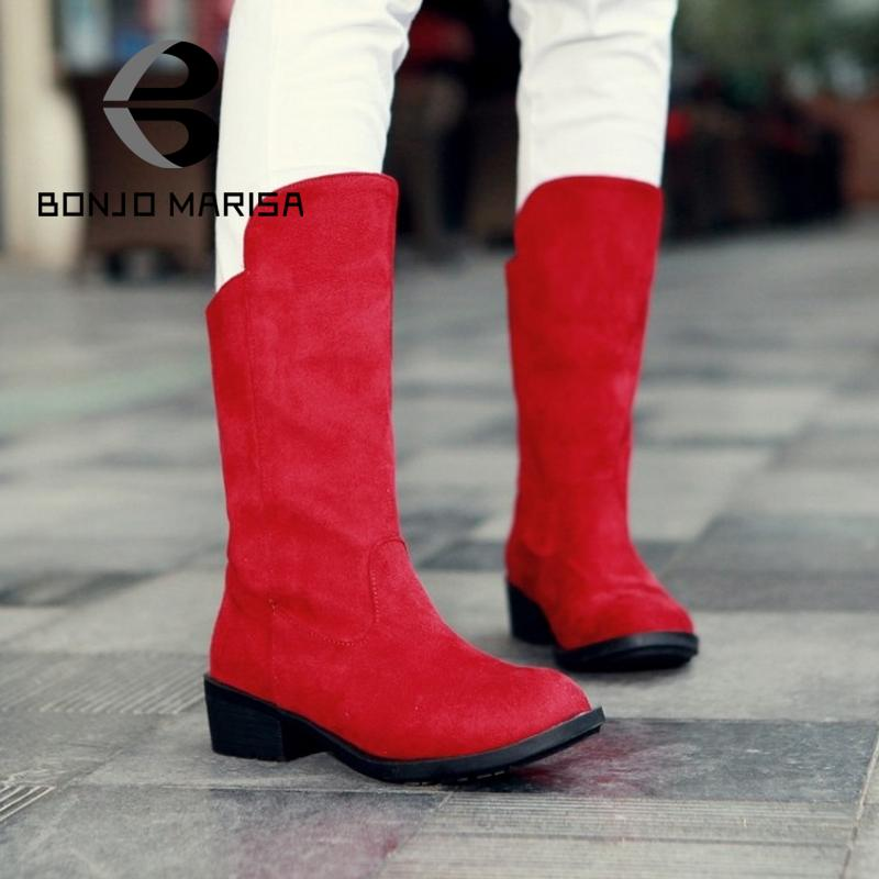 Fashion Snow Boots Solid Round Toe Platform Shoes For Women Square Heels Casual Paryt Shoes Half Knee High Boots Warm Fur Shoes