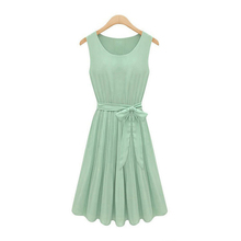 New 2015 Summer Casual Women Chiffon Dresses Sleeveless Vest Pleated Dress with Sashes Green Brown S