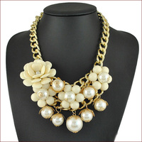 Free Shipping 2014 New Hot Sale Fine Jewlery Necklace Flower Pearl Necklaces & Pendants Collar Accessories Women Chokers N4740
