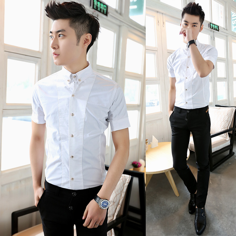 Luxury fashion metal buckle white shirt summer boys for Boys white formal shirt