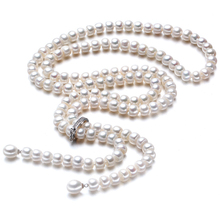 Высокое Качество 2017 100% Естественный Пресноводный Жемчуг Длинное Ожерелье 8-9 мм Настоящая Жемчужина Стерлингового Серебра 925 Для женщины Лучшие Подарки(China (Mainland))