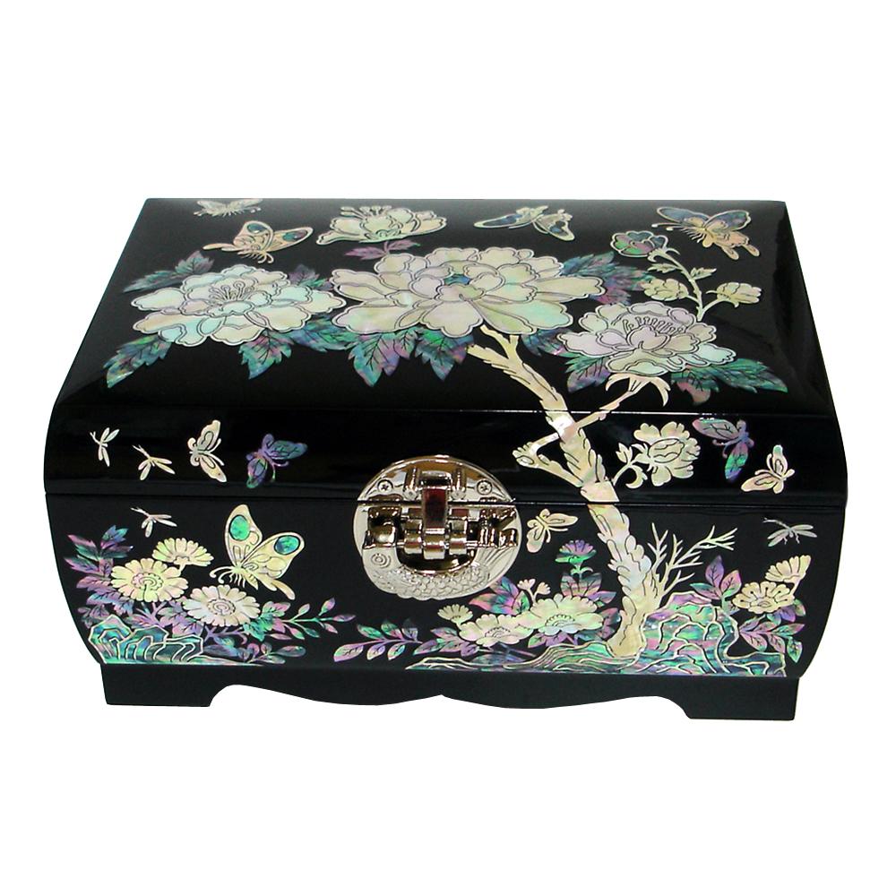 Mother of Pearl Inlay Luxury Flower Lacquer Black Wood Korean Jewelry Trinket Keepsake Treasure Display Box Case Chest Organizer(China (Mainland))