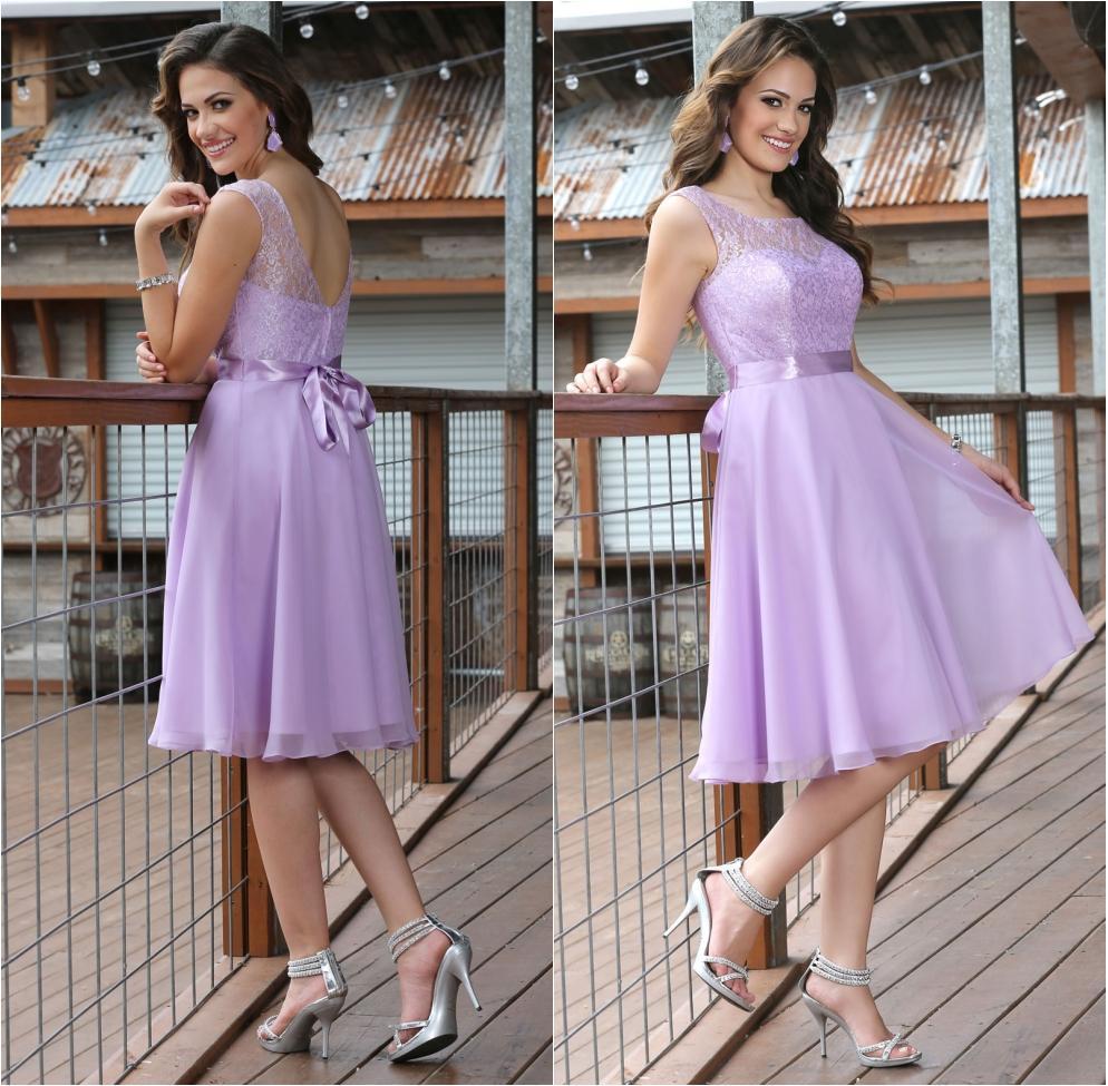 2015 beach lavender knee length bridesmaid dresses chiffon for Knee length beach wedding dresses