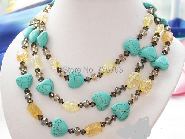 "xiuli 0014544 52""17mm nature heart turquoise citrine faceted necklace(China (Mainland))"