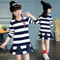 Thumbaby Girls Dress Spring Autumun Striped Dress Children Kids Dresses For 4 12 Years Girls Clothes