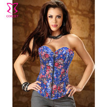 Floral Print Blue Denim Corset Sexy Burlesque Gothic Clothing Women Corpete Corselet Overbust Corsets And Bustiers With Zipper