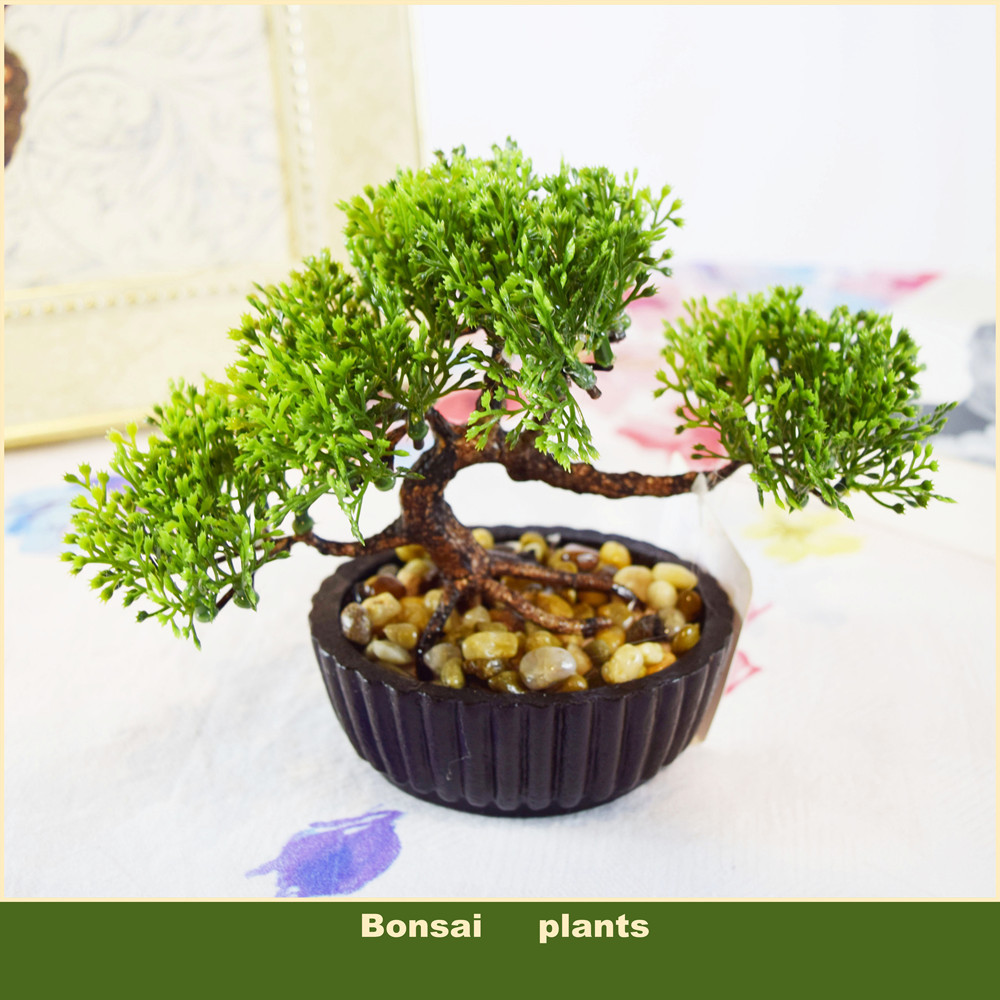 (6 colors) Decorative flowers pots planters artificial plants bonsai pine tree real touch fake plant potted on the desk(China (Mainland))