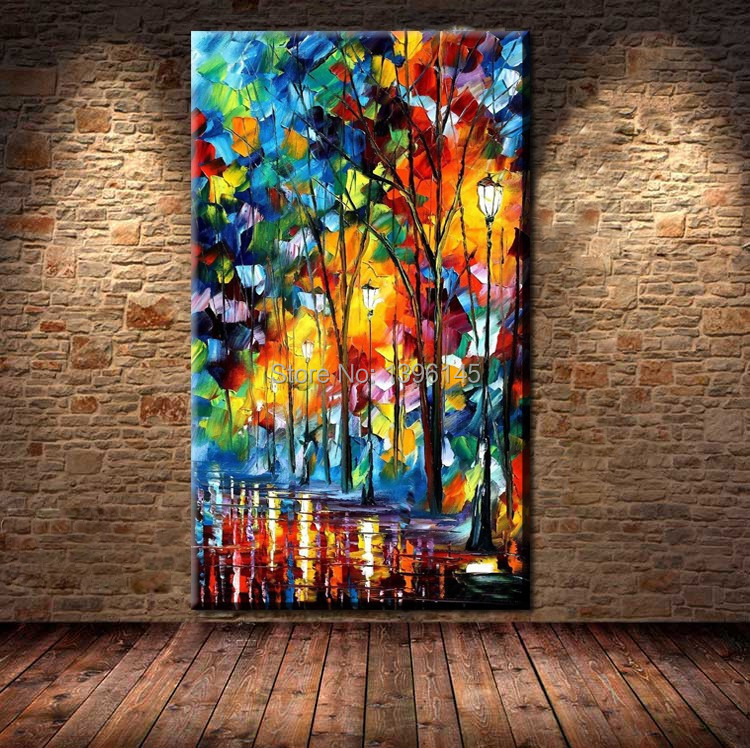 BA Oil Painting Hot sell Palette Knife Modern Textured Landscape Canvas Oil Painting Wall Art Home Decoration Home Decor Picture(China (Mainland))