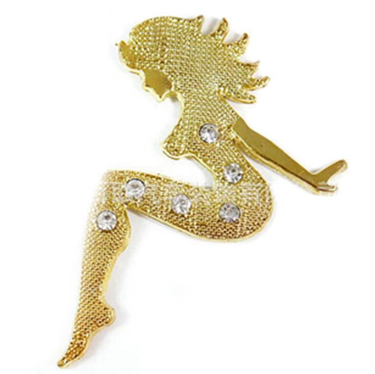 shiny sexy beauty lady slivery golden metal car sticker auto parts automobile accessory