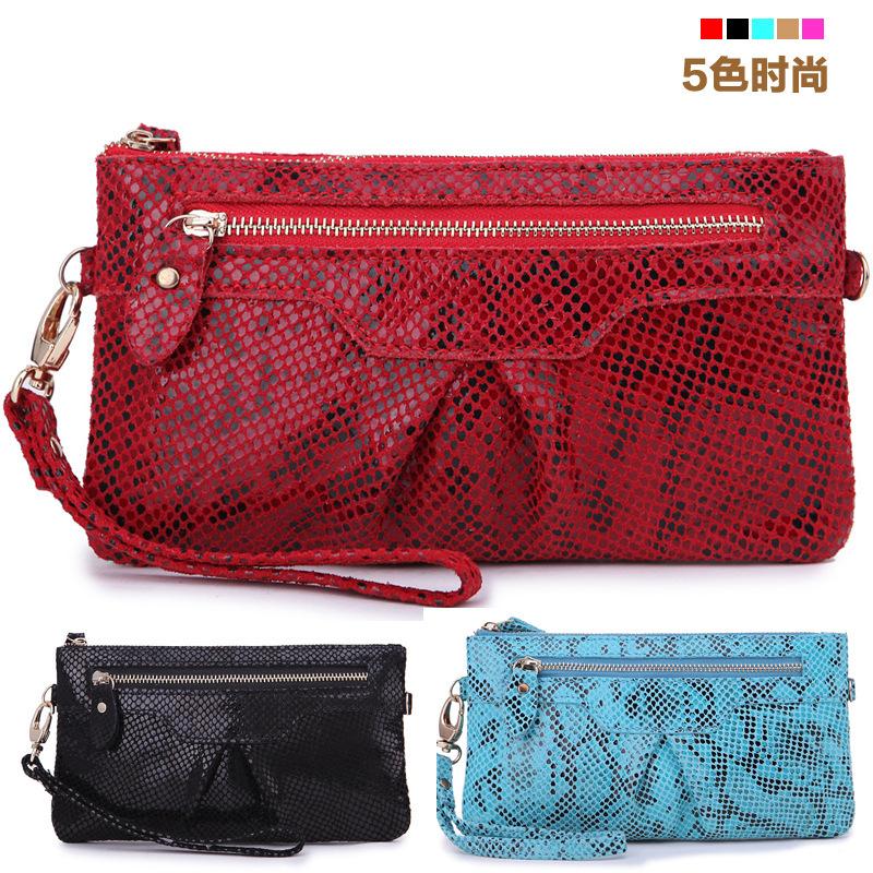 Ms. matte leather bag serpentine phone sequins clutch bag evening bag ladies handbag(Blue,Black,Red,Rose,Light tan)(China (Mainland))