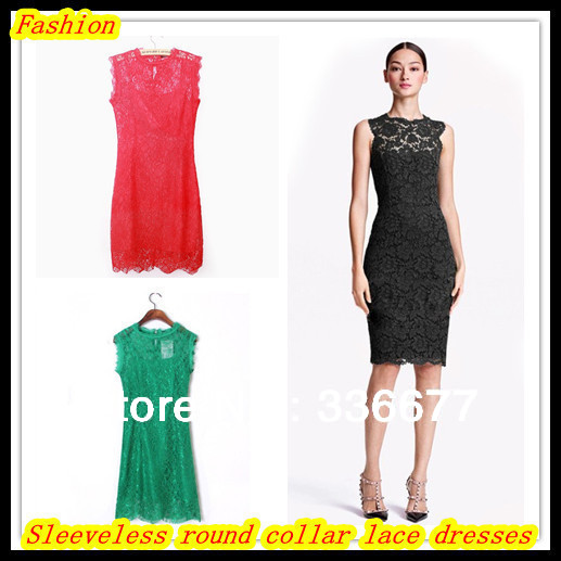 New 2014 Summer Women Fashion Cotton Lace Dress High Quality Women Dresses Lady's Apparel Sexy Brand Sleeveless dresses QR-2520(China (Mainland))