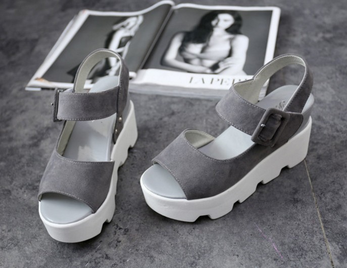 Latest 2016 High platform summer grey black wedge shoes for woman buckle peep toe matte sandals high-heeled lady muffin shoes<br><br>Aliexpress