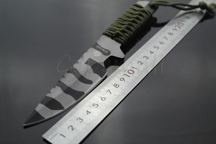 Buy 57HRC Strider Blade Fixed Knife Tactical Knife 440C Straight Outdoor Camping Survival knife Camouflage Army knife cheap