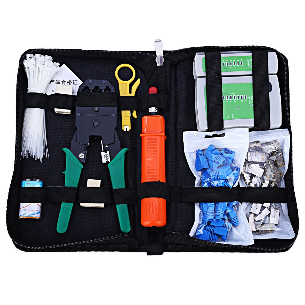 Networking Computer Maintenance Tool Kit Cable Tester Crimper 50 Rj45 Cat5 Cat5e Connector Plug 10pcs Rj45 Strain Relief Boot(China (Mainland))