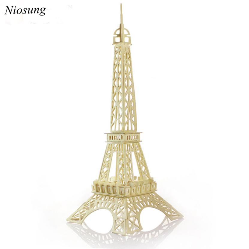 Niosung Eiffel Tower 3d jigsaw puzzle toys wooden adult children's intelligence toys Child Game Gift(China (Mainland))
