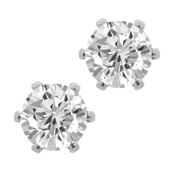 3.00 Ct Cubic Zirconia CZ Round Post With Friction Back Stud Earrings 6MM Fashion Jewelry For Women silver plated()