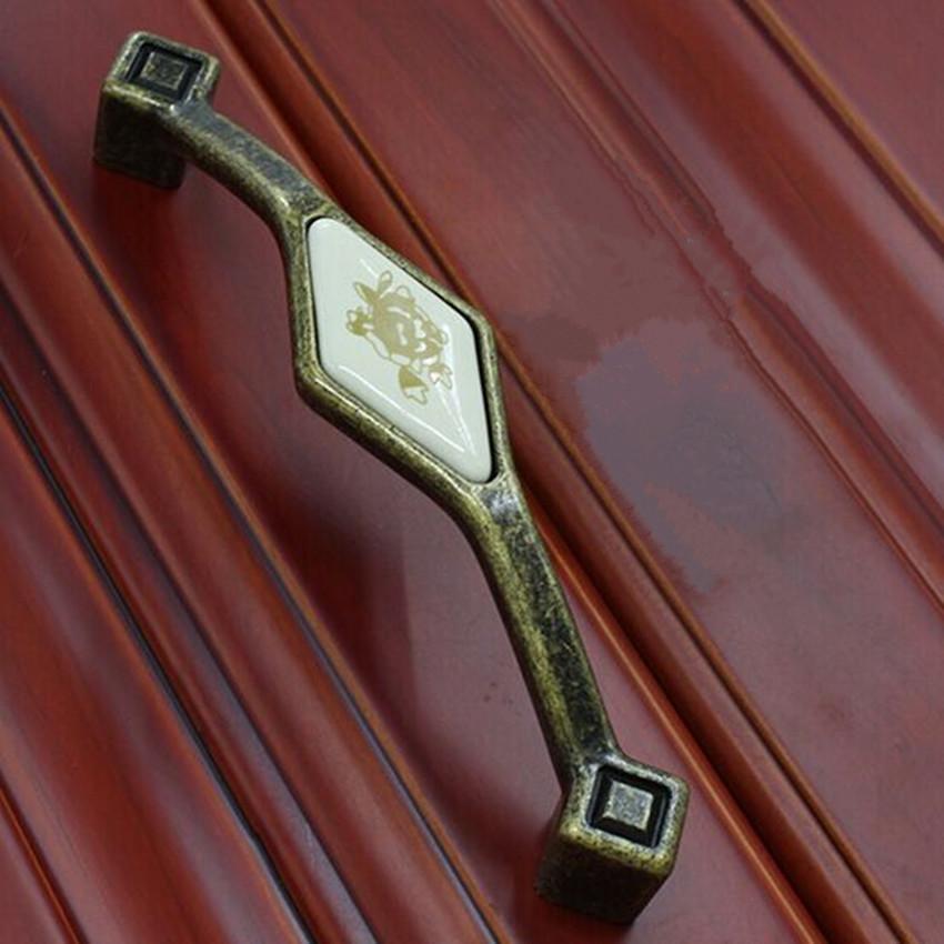Rustico pastorale ceramic vintage furniture handles bronze kichen cabinet pull knob 5 antique brass dresser cupbord door handle<br><br>Aliexpress