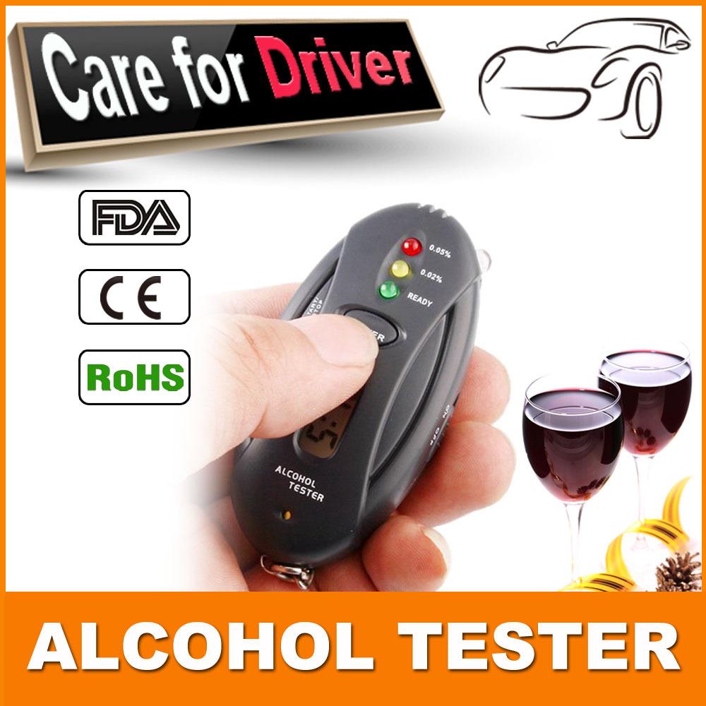 Алкотестер цифровой тестер алкоголя в выдыхаемом воздухе проверки анализатор профессиональный детектор брелок фонарик секундомер 5 шт./лот