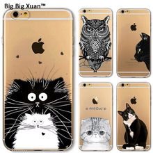 Case iPhone 5 5s SE 6Plus 6 6s Plus Soft TPU Protective Cases Clear Cat Animals Cover - sumsungiphonecase store
