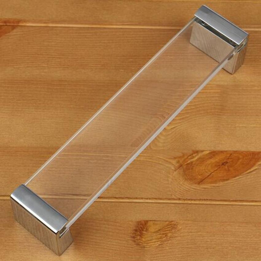160mm modern fashion glass furniture handle silver kitchen cabinet drawe handle clear acrylic dresser cupboard door pull knob(China (Mainland))