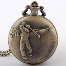 Antique steampunk Vintage Copper Elegant Design Quartz Chain Golf Pocket Watch Christmas Gift Glass Lockets P291