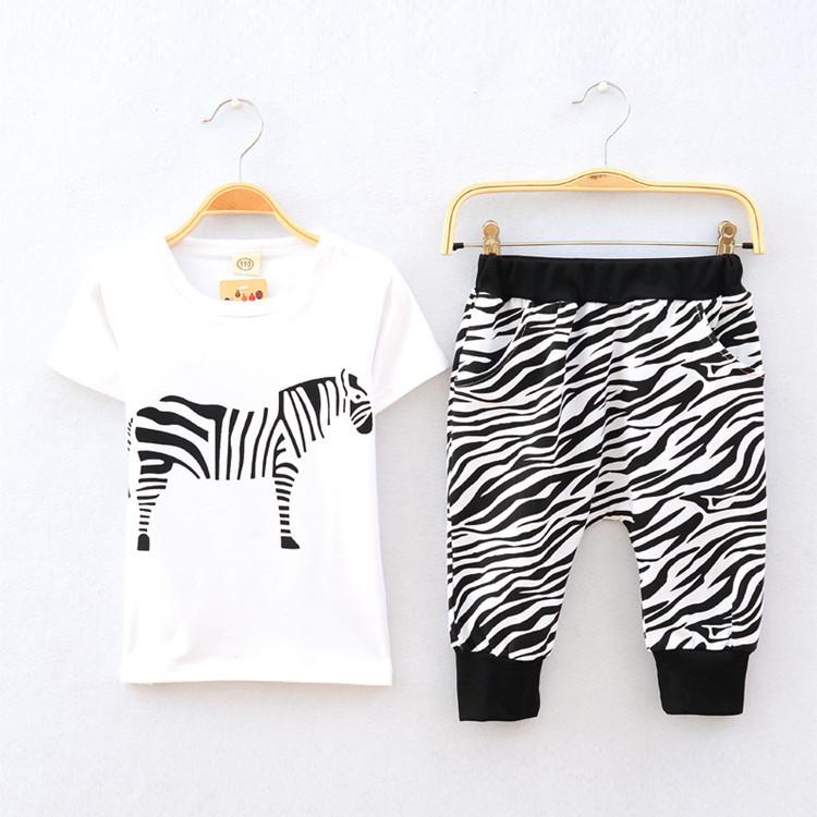 Tree nieuwe zomer 2015 baby boy kleding set zebra kids kleding
