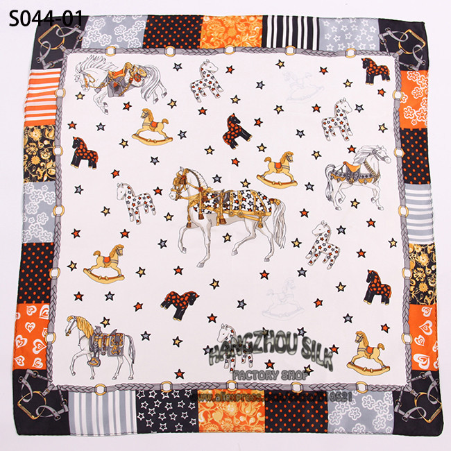 53x53cm100% silk scarf brand /kids cute carton horse scarf / winter acessories wholesale free shipping(China (Mainland))