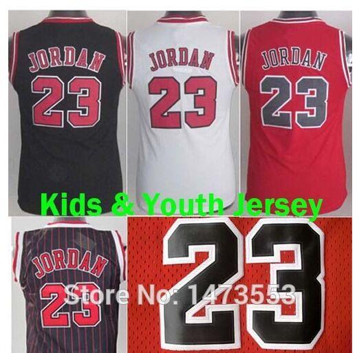 ckvkir 2015-Youth-Chicago-23-Michael-Jordan-Jersey-White-Black-Red-Kids