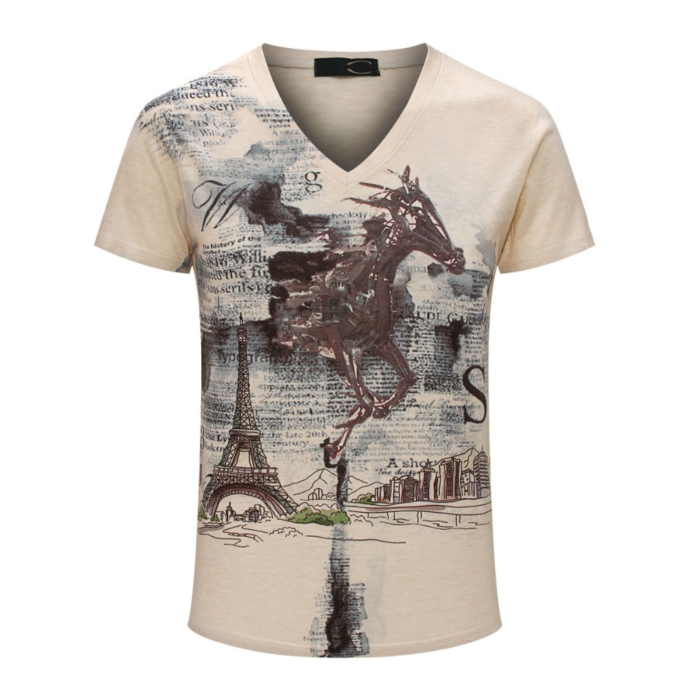Vintage short sleeve v neck 3d printed mens t shirts for Print photo on shirt