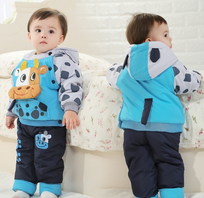 2015 NEW children's winter clothing sets with cow bull style baby winter suit and pant boys & girls winter outwear, C168(China (Mainland))