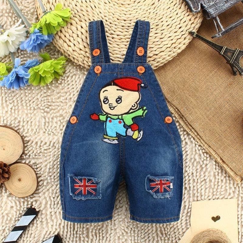 2015 Hot Selling Design Denim Baby Overall Pants Retail and Wholesale For Baby 0-24M Design Cartoon Baby Overall Jeans Pants(China (Mainland))