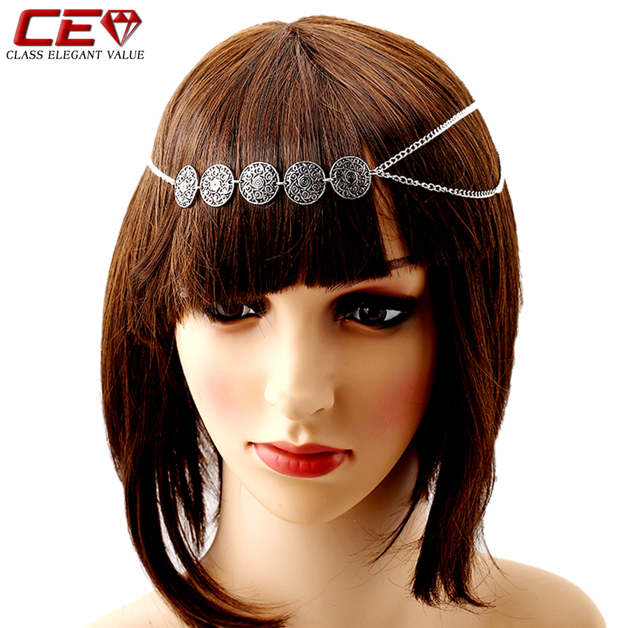 2016 Vintage Hairbands For Women Silver Head Chain Girl Bride Hair Accessories Headband Bijoux Cheveux Hair Pin Headpiece Clips(China (Mainland))