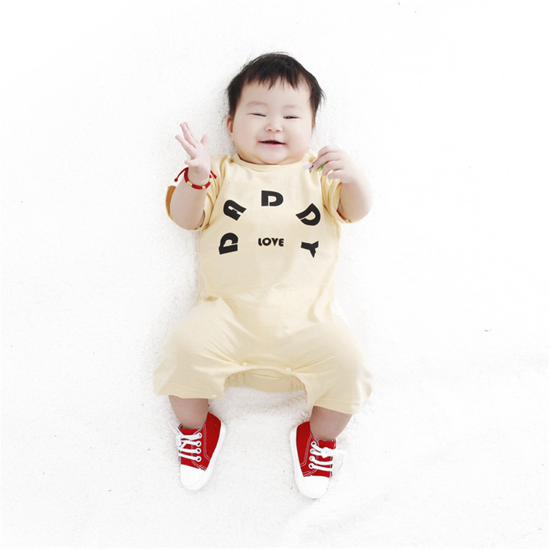 Summer Style Baby Love Papa Mama Printed Jumpsuits Boy Girl Clothes Infantil Romper Newborn Coveralls Next Bebes Rompers(China (Mainland))